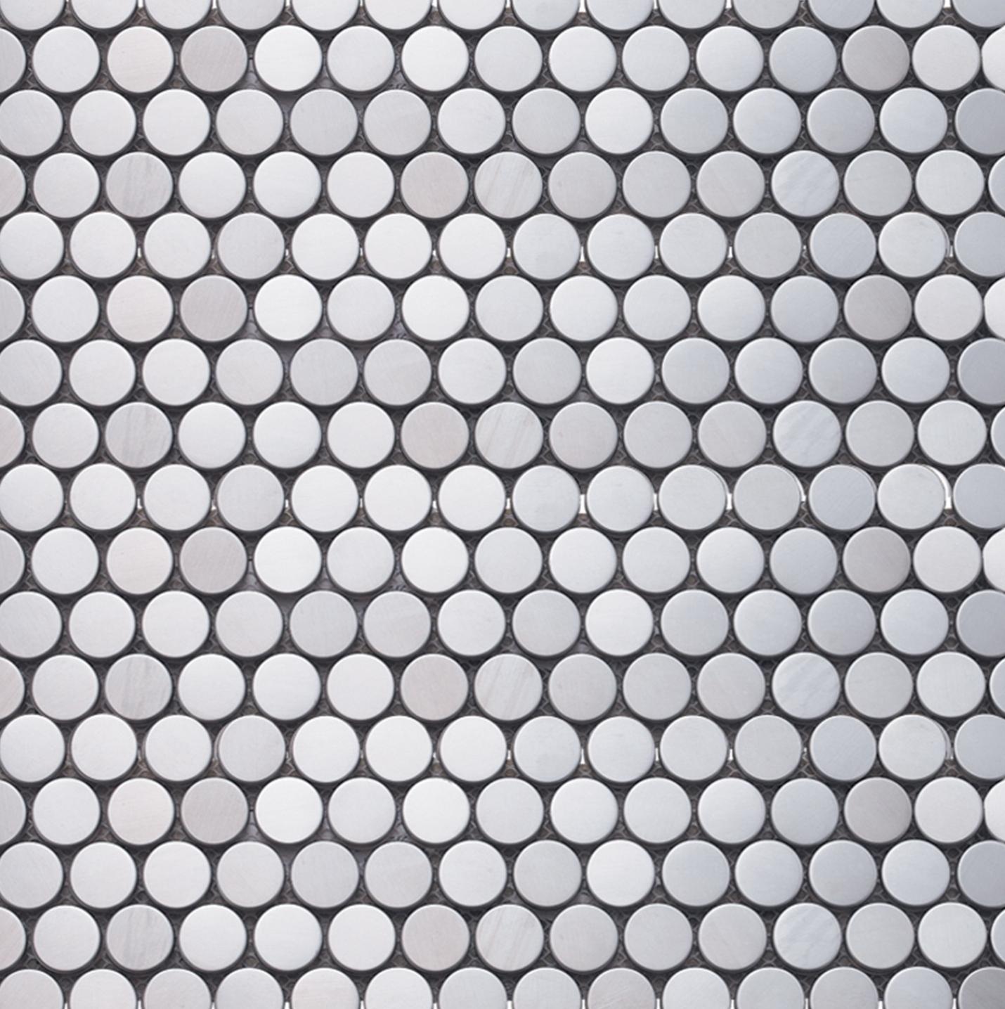 Inox Mosaics Penny Round Silver