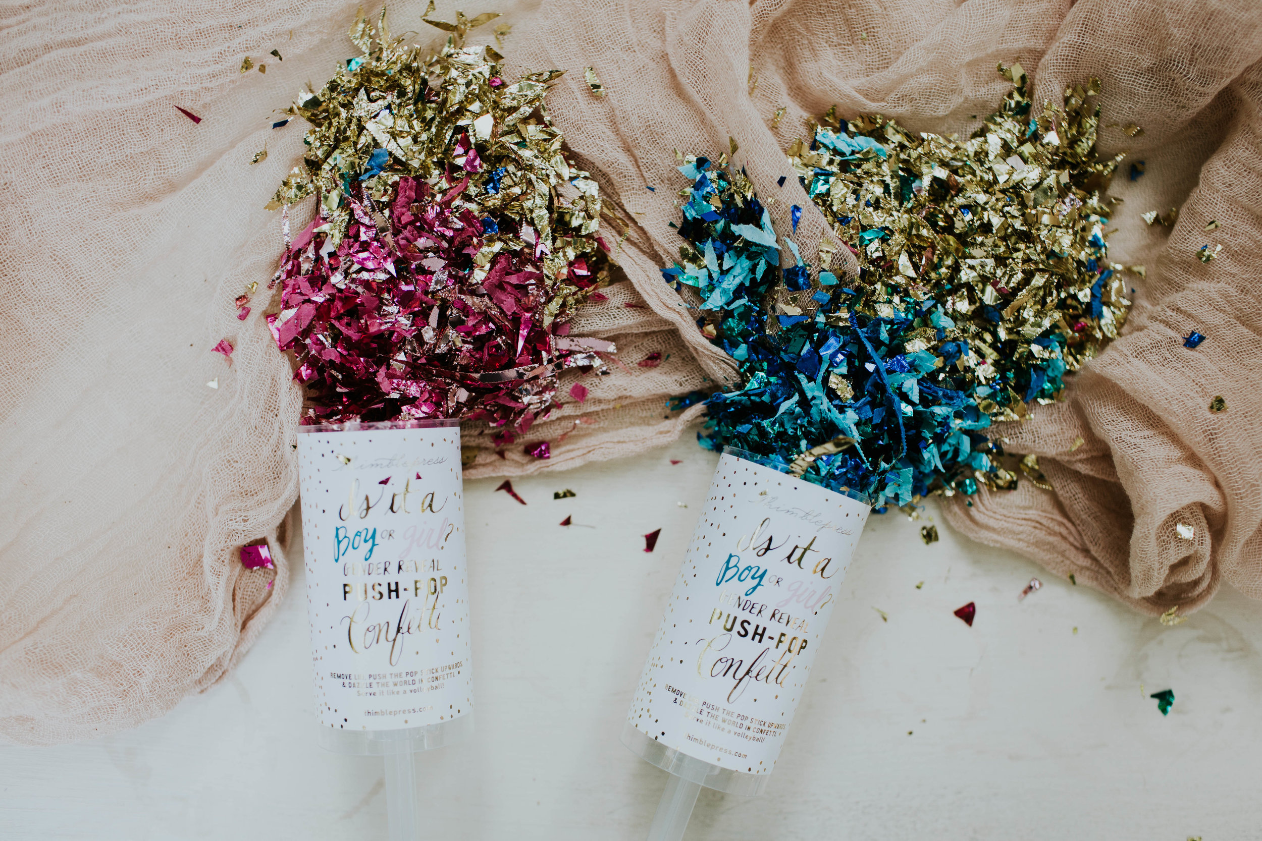   Gender Reveal Confetti Poppers: Thimblepress   Photo:Amie Soares Photography   Design: Ribbon & Leaf Events  