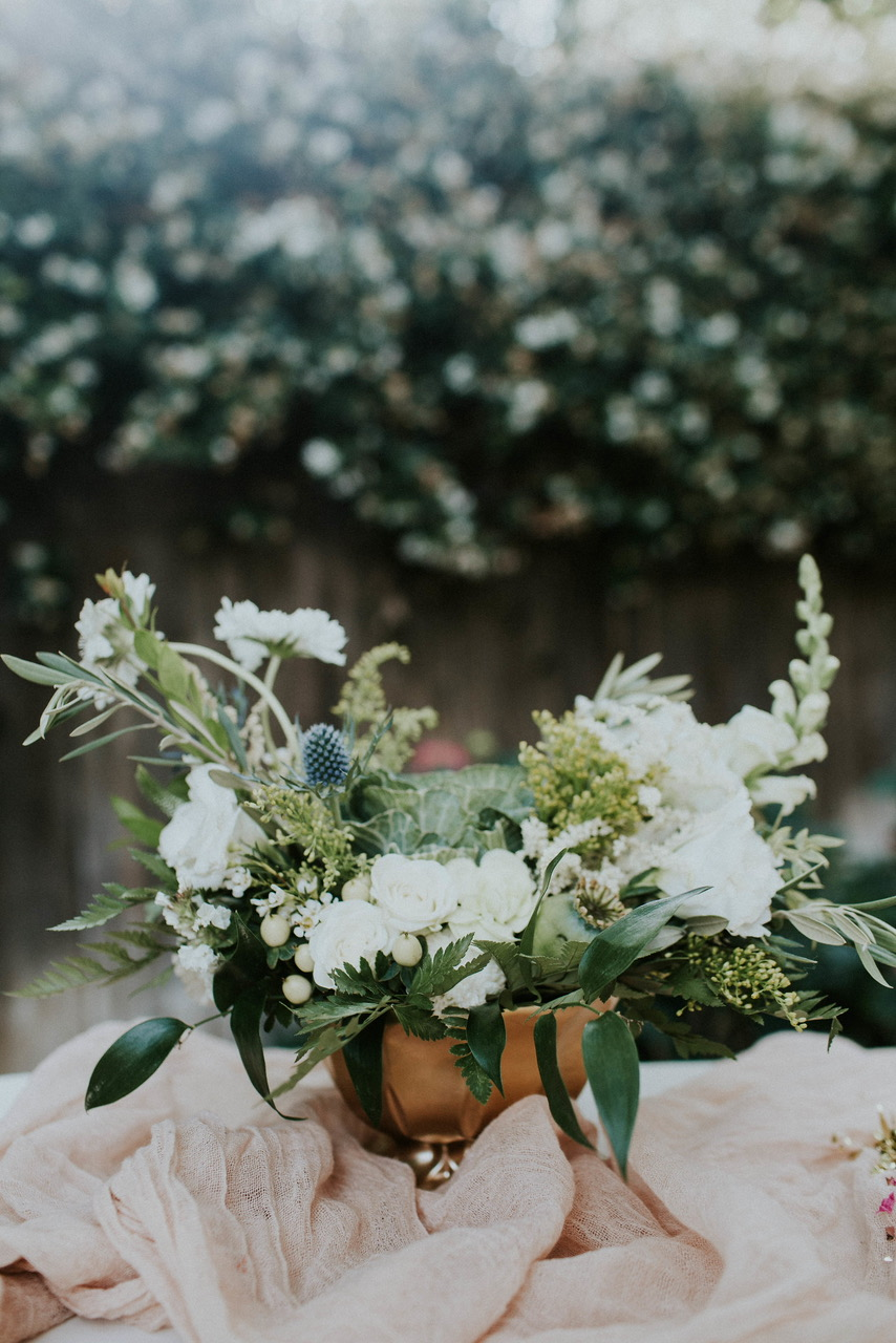   Flowers & Greenery by Kathryn Barajas of KB Flowers   Photo:Amie Soares Photography   Design: Ribbon & Leaf Events  