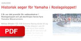 """YAMAHA PRESSLEASE - 2009    """"Historisk seger för Yamaha i Roslagsloppet"""""""