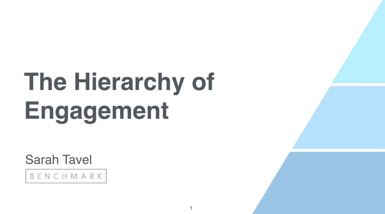 Sarah Tavel: The Hierarchy of Engagement