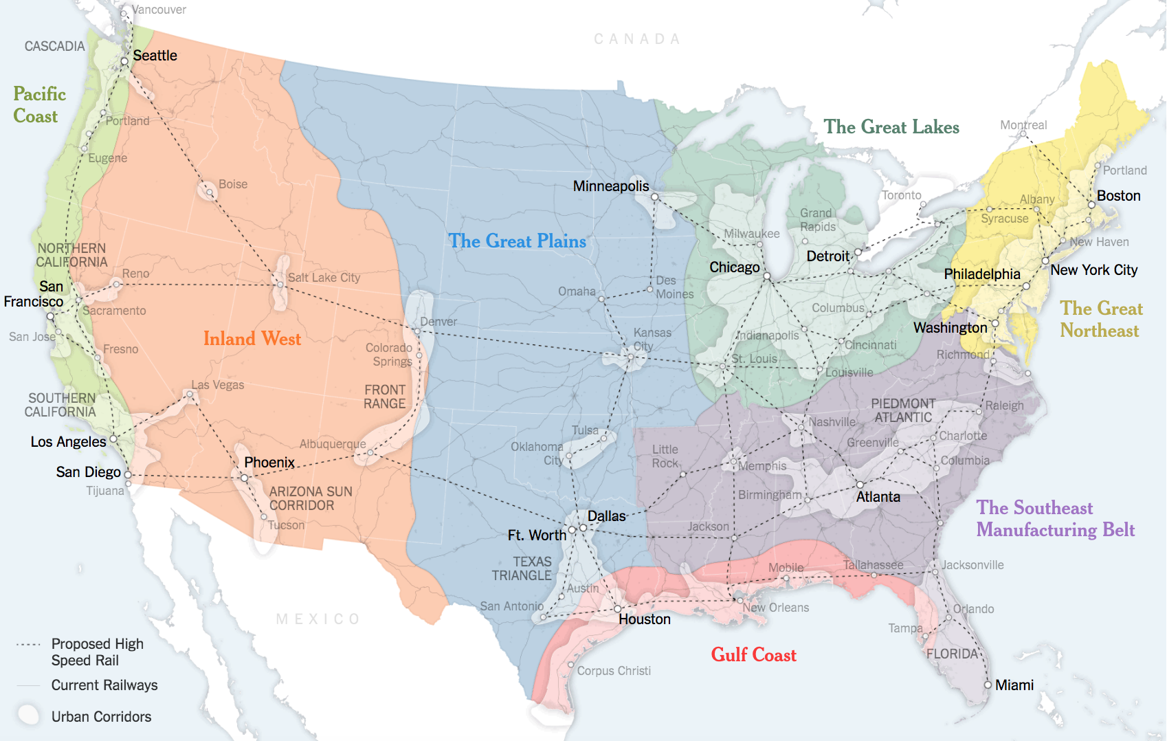 A map of U.S. megaregions, as featured in a 2016  New York Times  article.