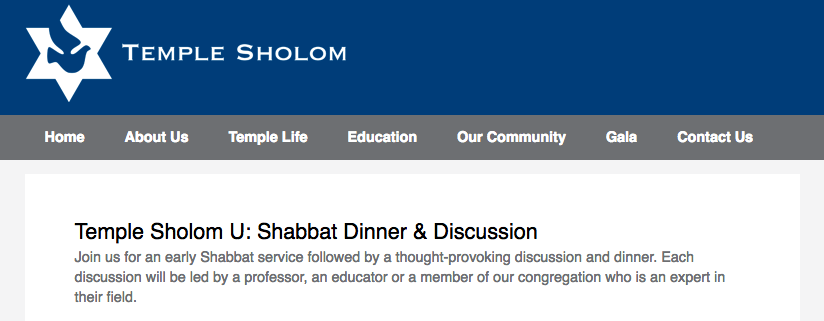 Temple Sholom U:  Shabbat Dinner & Discussion