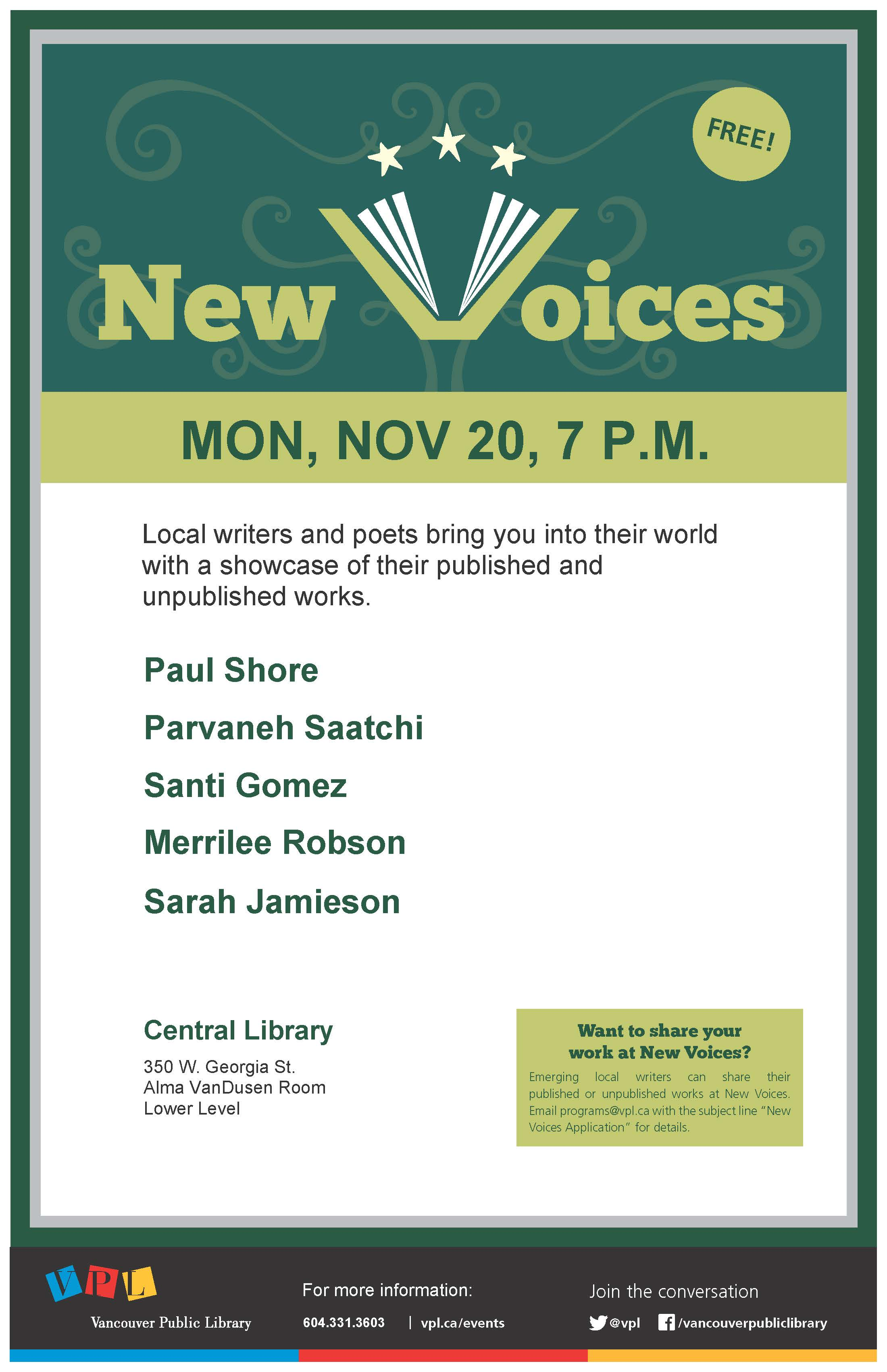New Voices Reading Event at Vancouver Public Library