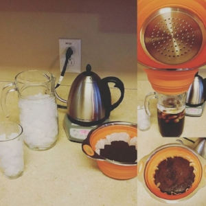 Here is my set up for making a pitcher of Iced Coffee at home!