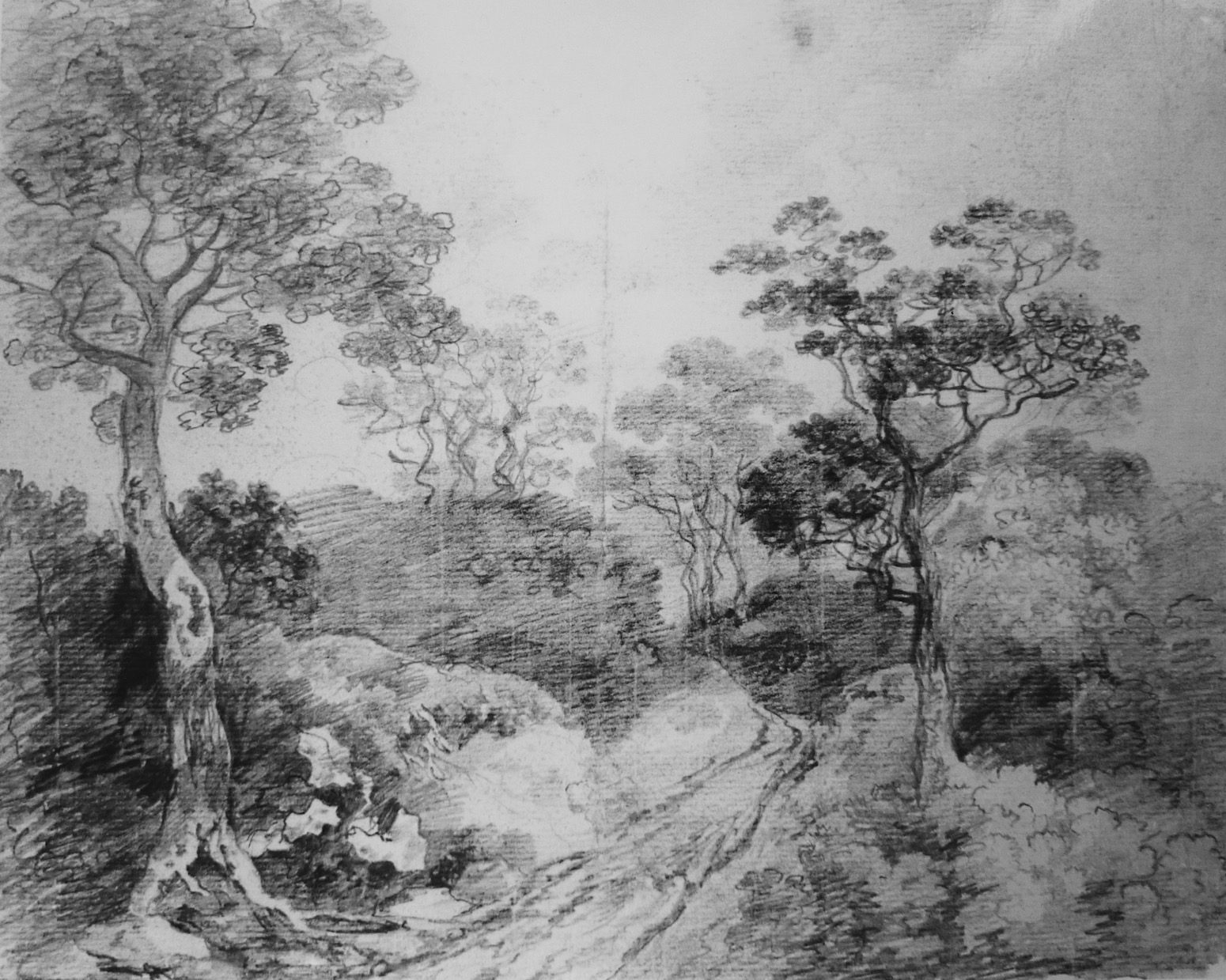 Thomas Gainsborough,  Landscape with Wooded Path , 1749–50. Pencil on paper, 21.8 x 26.9 cm. Private Collection.