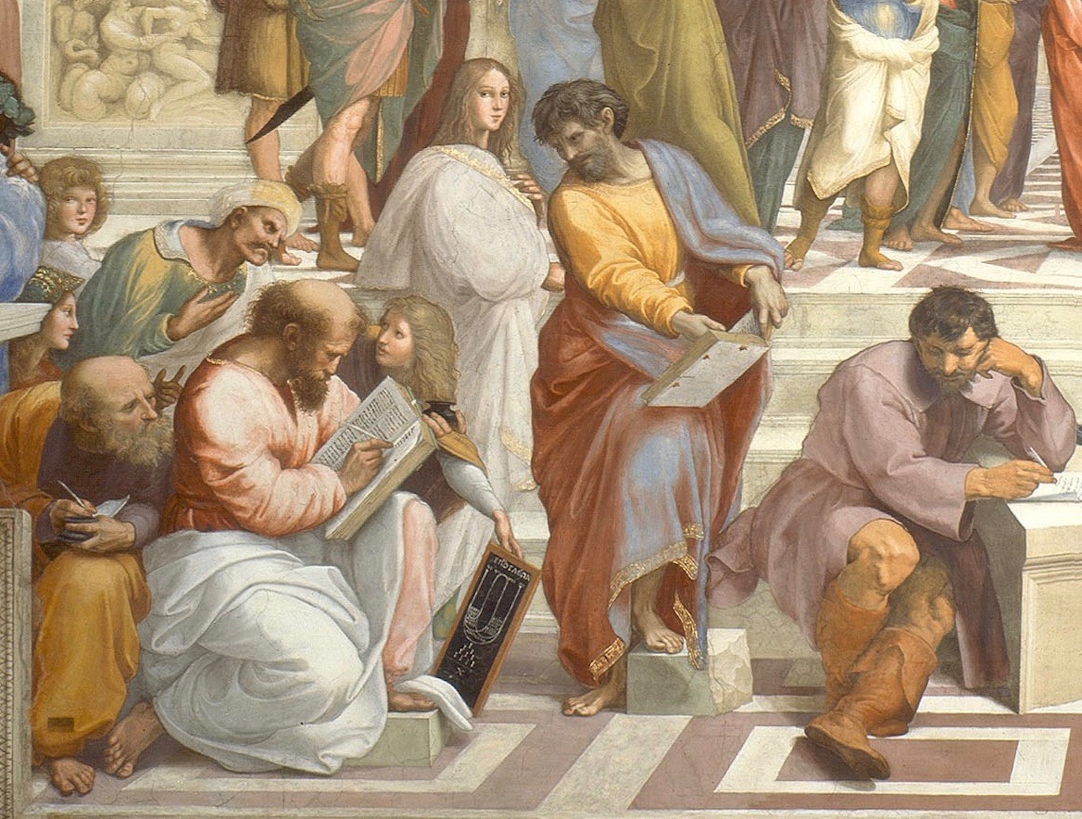 Pythagoras (bottom left), detail from Raphael,  The School of Athens , 1511. Vatican Museums.