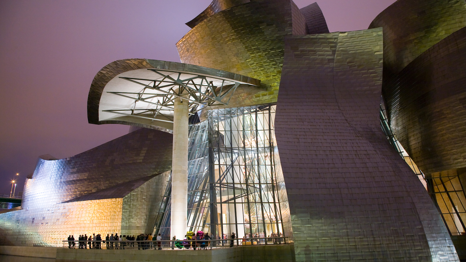 Exterior view of the Guggenheim, Bilbao, by Frank Gehry. The museum opened in 1997.
