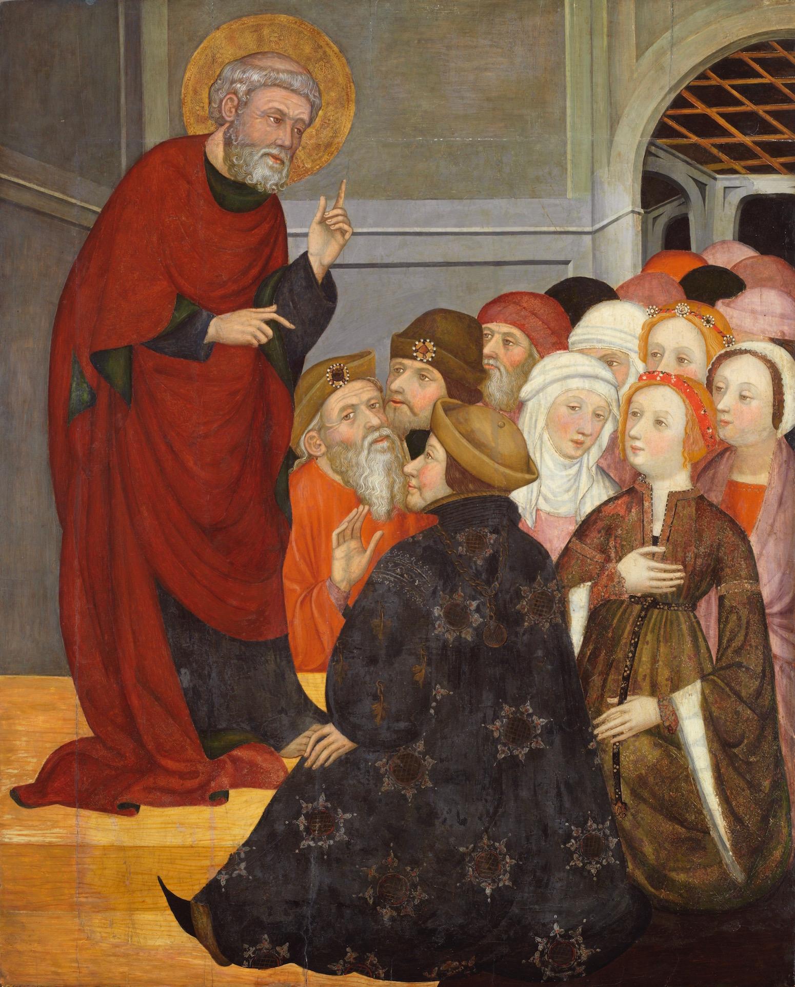 Pedro (Pere) Serra,  St Peter Preaching ,  c . 1400. Tempera on panel, 125 x 101 cm. Bilbao Fine Arts Museum.