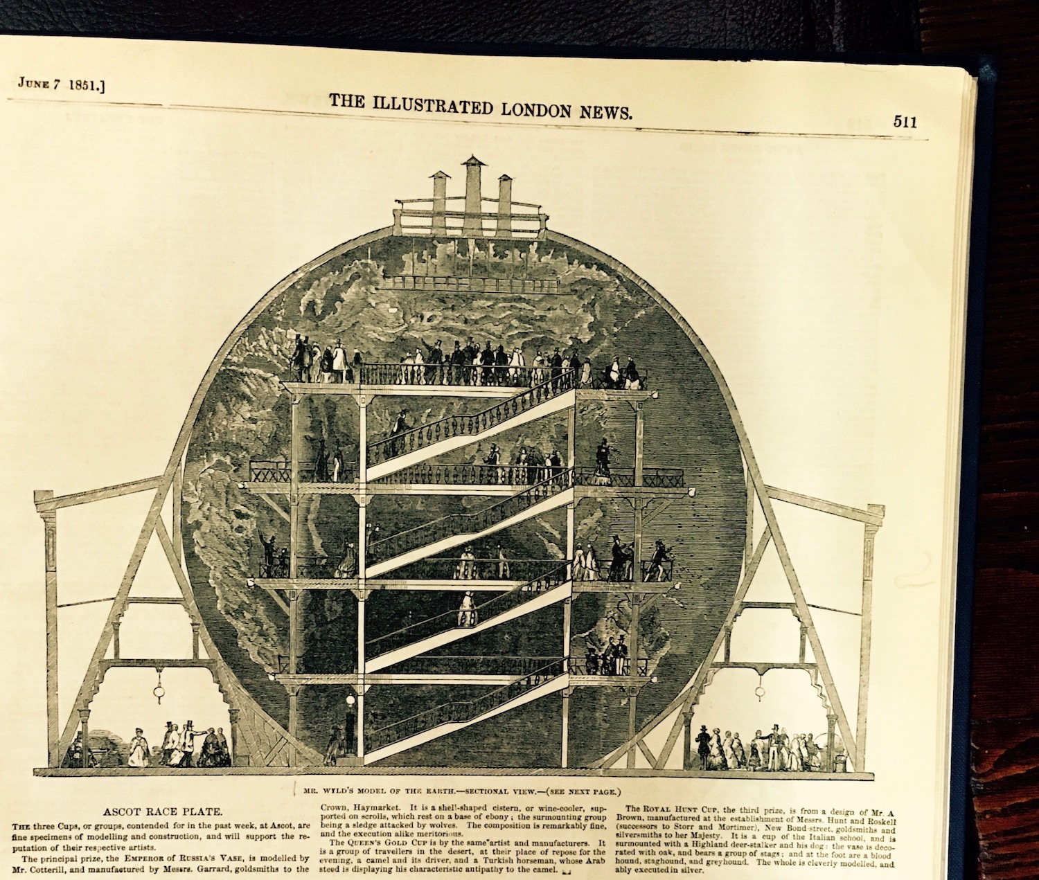 Mr Wyld's Model of the Earth.  From  The Illustrated London News , 7 June 1851. Photo © Debbie Loftus 2016.
