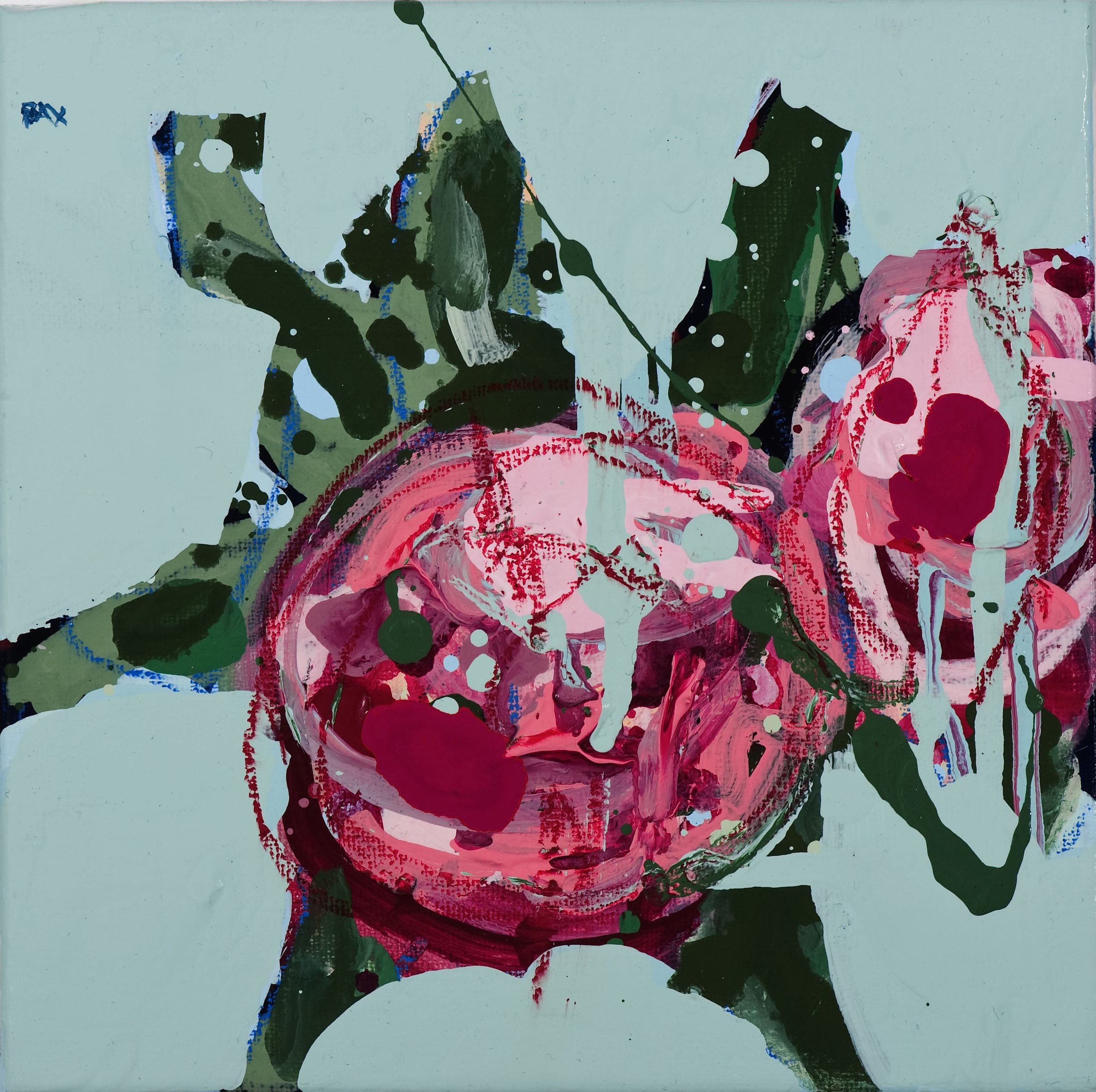 Matthew Bax English Rose - Sky Blue 2012 20 x 20 cm Acrylic, wax crayon on linen