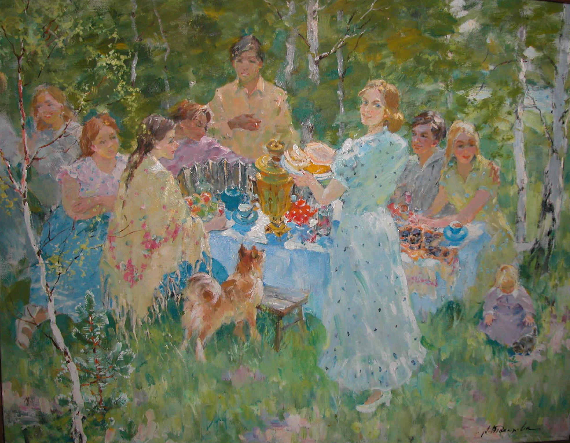 """Tea party with samovar"", оil on canvas, signed, size: 100 x 80 cm. Чаепитие с самоваром, холст, масло, размер: 100 х 80 см., подпись."