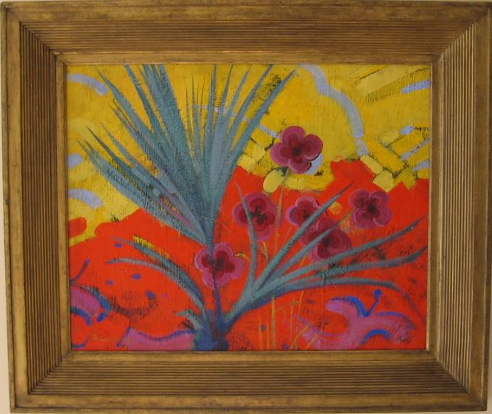Abstract Composition with Flowers   Oil on canvas, size 47 x 59.5 cm. Signed.