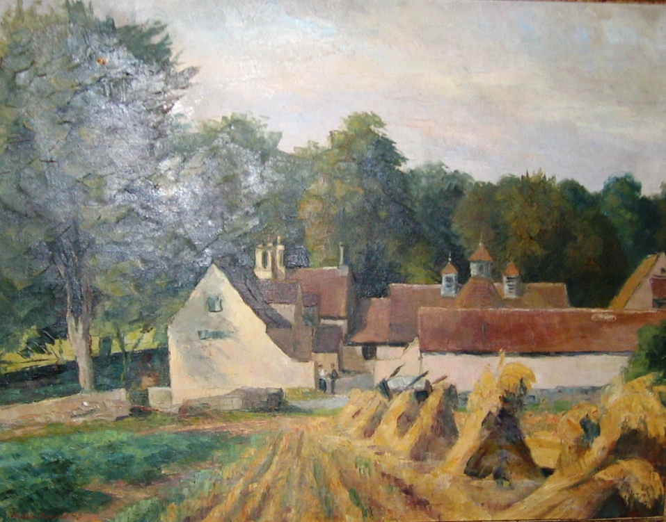Quennington, Gloucestershire, England. Oil on canvas, signed and dated 1943. Size: 65 x 49 cm.