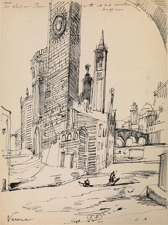 """View of Verona.  View of Verona. Ink on paper, size: 30 x 23 cm. Signed """"E.B."""", dated 1951, inscribed with a dedication and with an ink drawing on the reverse."""