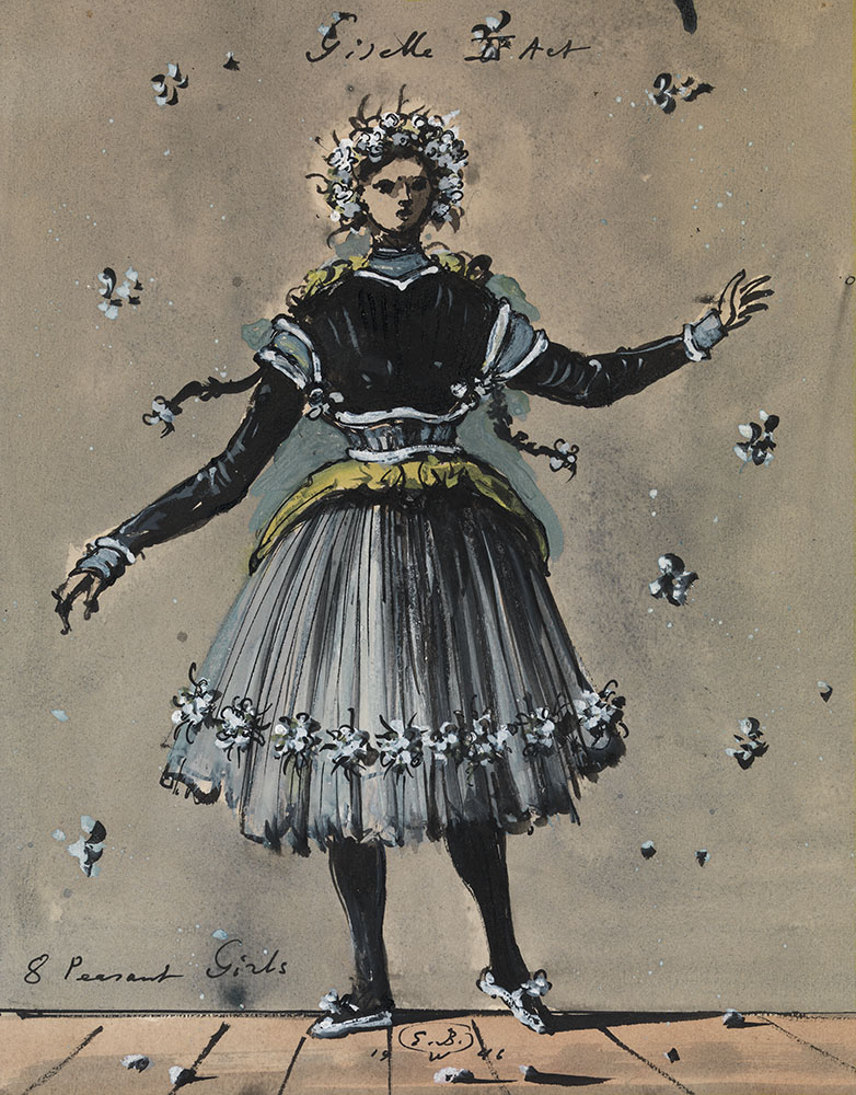 """A peasant girl. Costume Design for Giselle.  Costume Design for Giselle. Ink with gouache on paper, size: 33.5 x 26.5 cm. Signed """"E. B."""", dated 1946."""