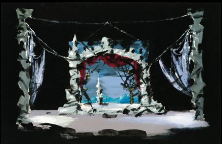"Set Designs for Tchaikovsky's ballets ""Swan Lake"" (Opera de Paris, 1956)  Gouache on paper, signed. Size: 25 by 37 cm."