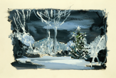"""Set Design for Tchaikovsky's ballet """"Le Nozze di Aurora""""  Charcoal, gouache and silver highlights on paper, signed. Size: 24 by 32 cm."""