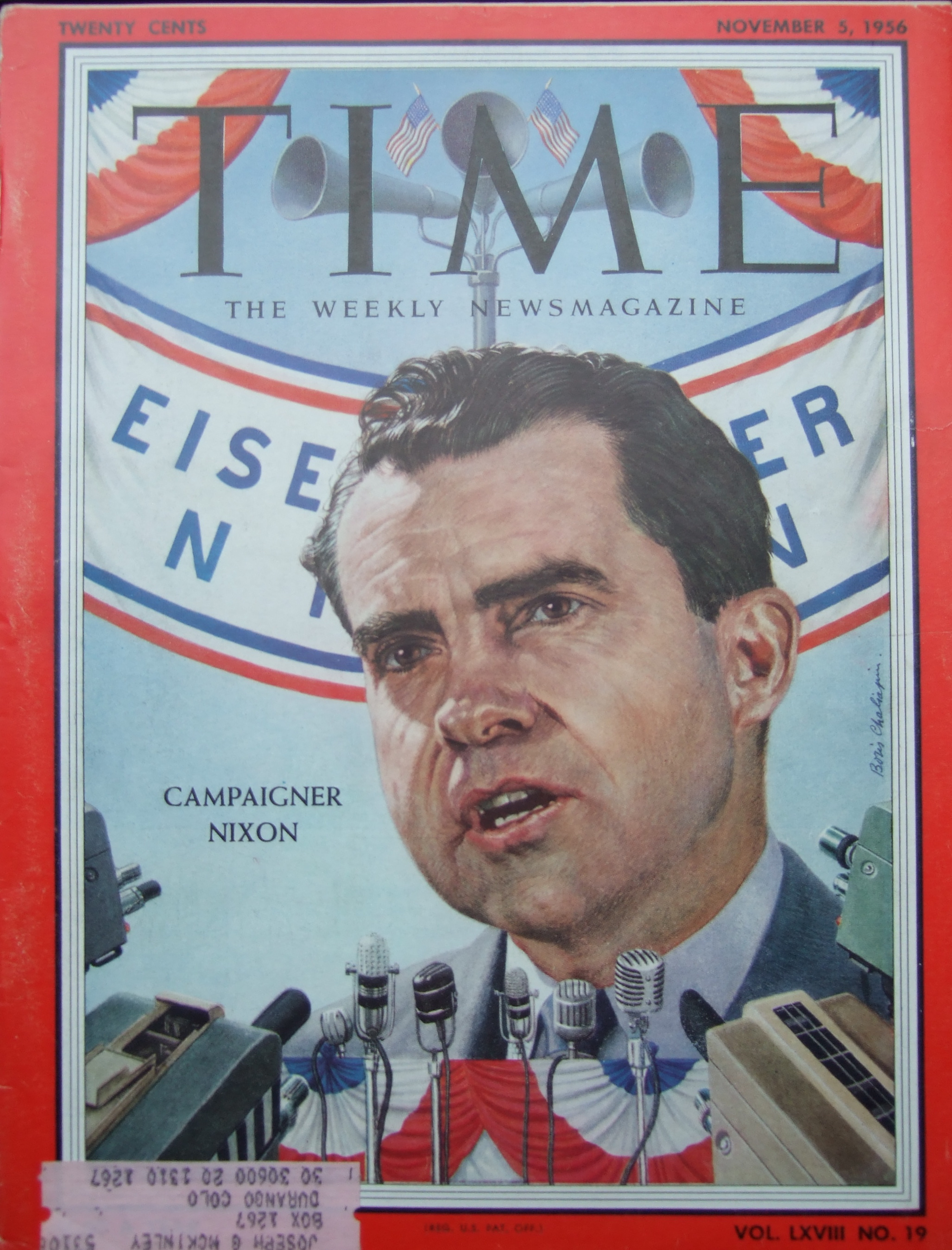 Magazine TIME November 1  956.  Cover by Boris Chaliapin.