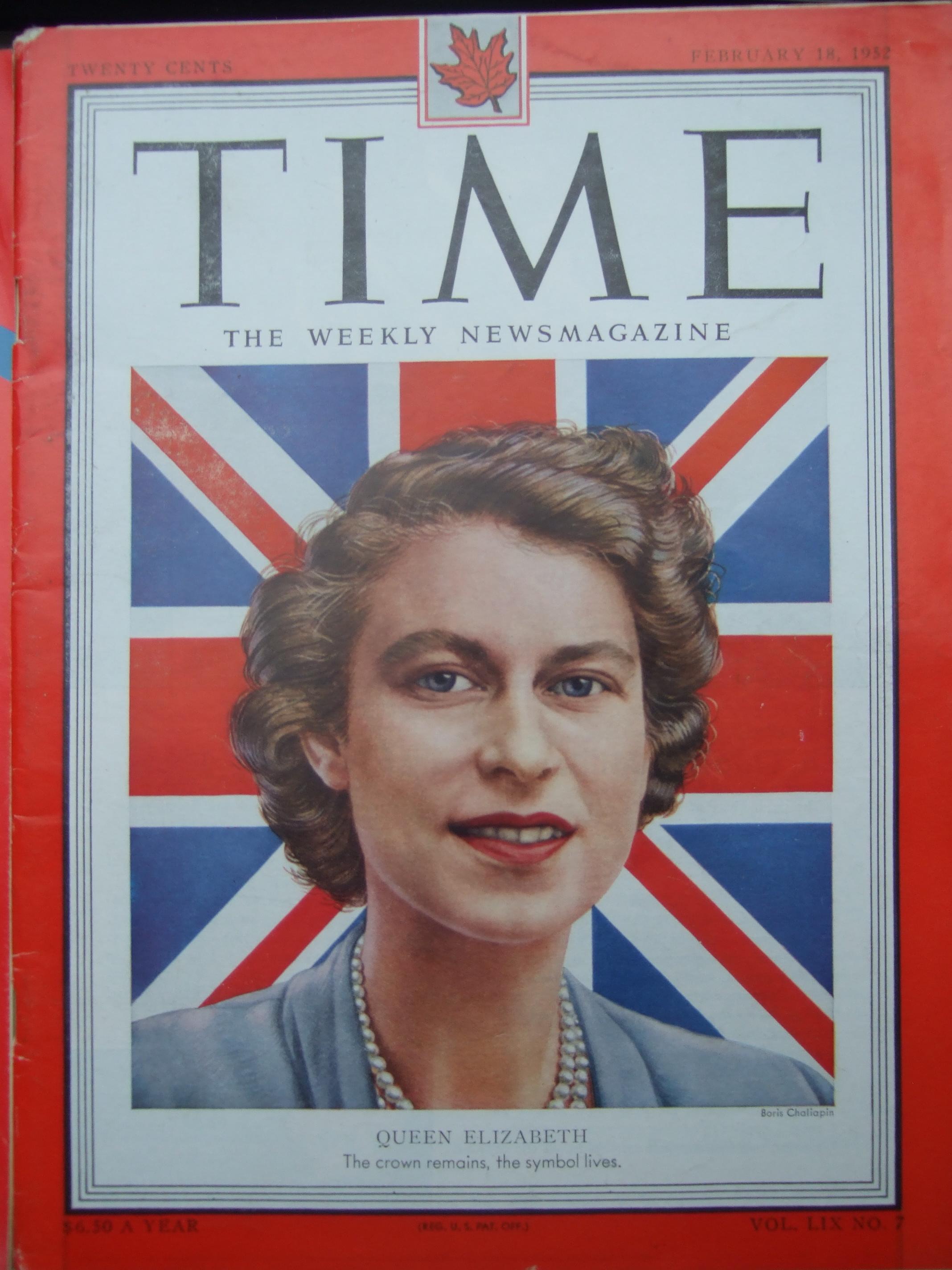 TIME magazine February 1952.  Queen Elizabeth II. Cover by Boris Chaliapin.