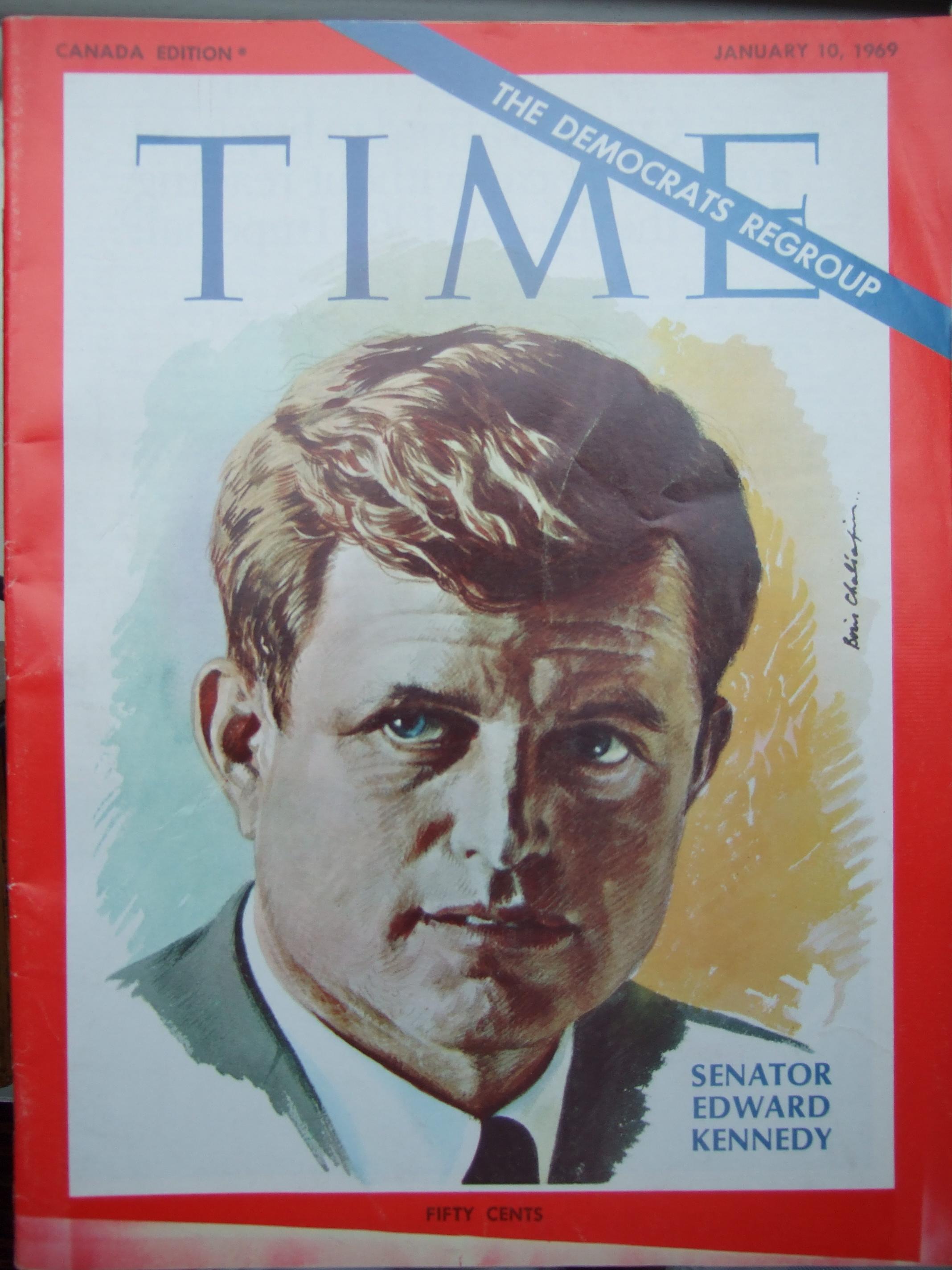 Time magazine. January 1962.   Senator Edward Kennedy. Cover by Boris Chaliapin.