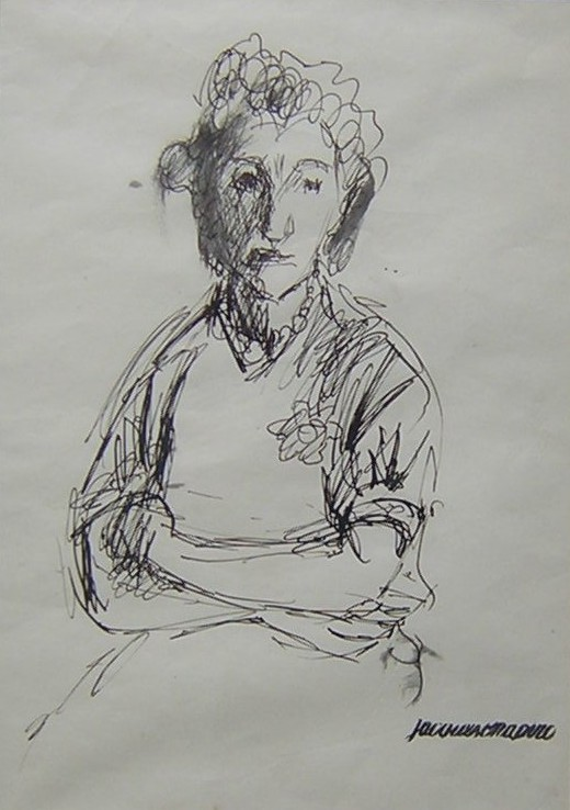 Chapiro Jacques  Old woman. Ink on paper, stamped with artist's workshop stamp, size: 21 x 16 cm.