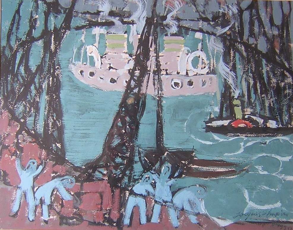 Port. Guache on carton. Signed and dated 1950.
