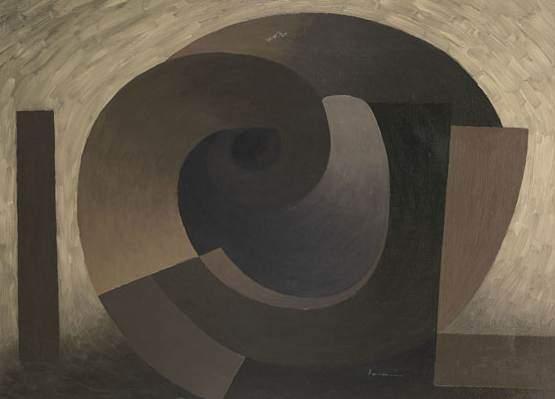 SERGE CHARCHOUNE - LA CASERNE, 1951  Oil on canvas, signed Size:73 x 102 cm  Bibliographie : - Charchoune Catalogue Raisonne, Tome 2, Raymond Creuze, Editions Raymond Creuze, Paris, 1976 . Oeuvre reproduite sous le numéro 606 en page 182