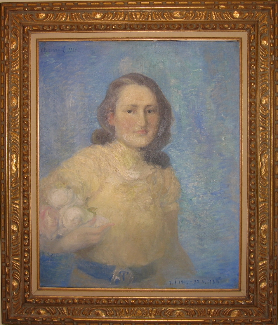 Portrait of a girl  Oil on canvas. Signed upper left and dated 1940. Size: 72 x 49 cm.