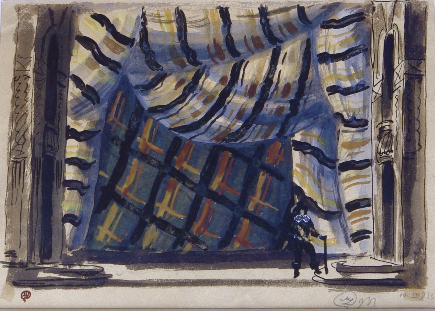 """Stage design for play """"Don Juan"""". Gouache on paper.  Stage design for play """"Don Juan"""". Gouache on paper. Size 26 x 20 cm. Signed and dated 1933."""