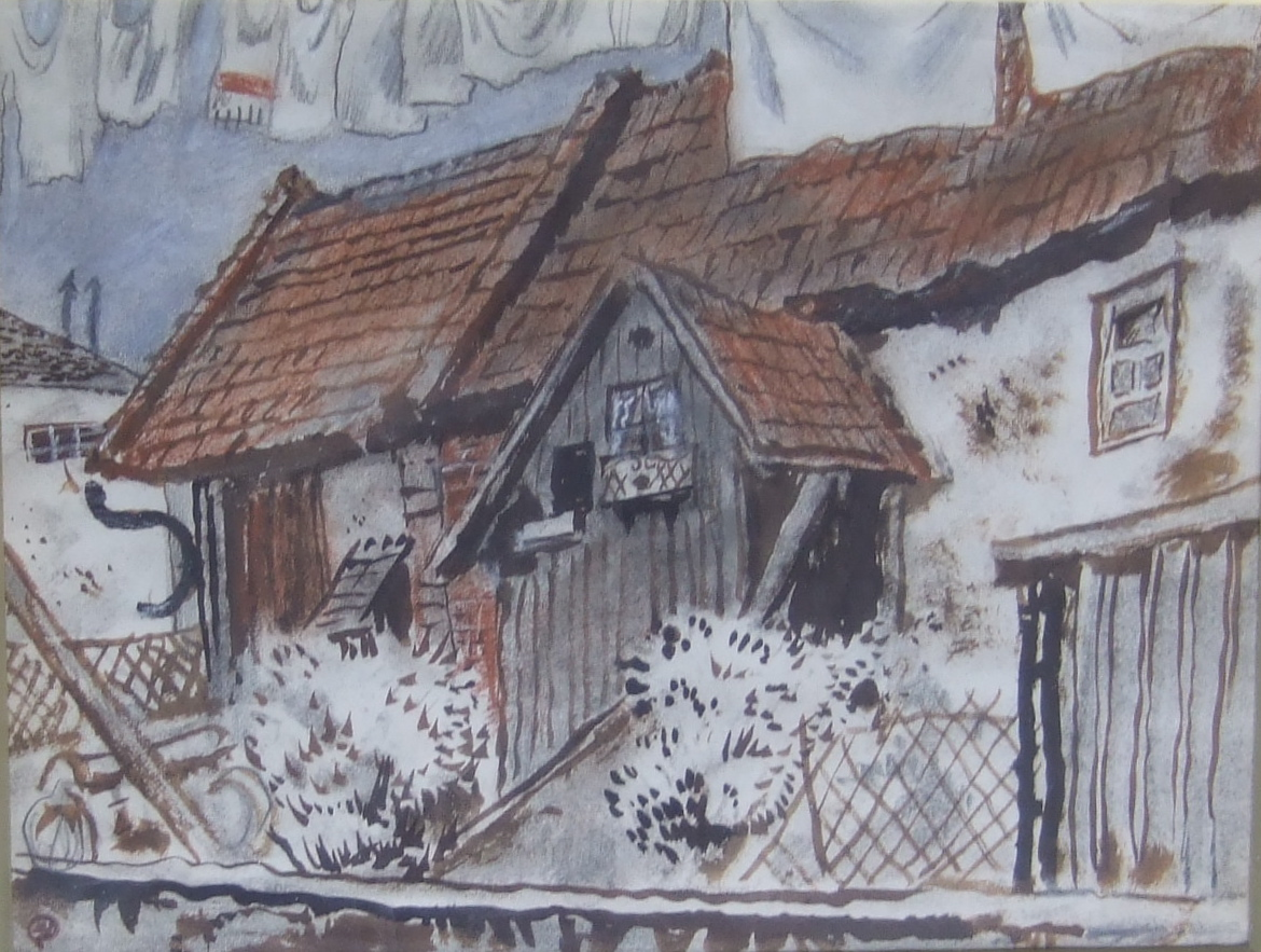 """""""Back garden"""", England.  Gouache and pencil on paper. Size 26 x 20 cm. Stamped with artist's studio stamp."""
