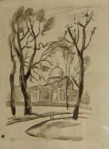 Mstislav Dobuzhinsky (1875 - 1957)  Boston. Pencil, ink and gouache on paper. Size 22 x 28 cm. Signed.