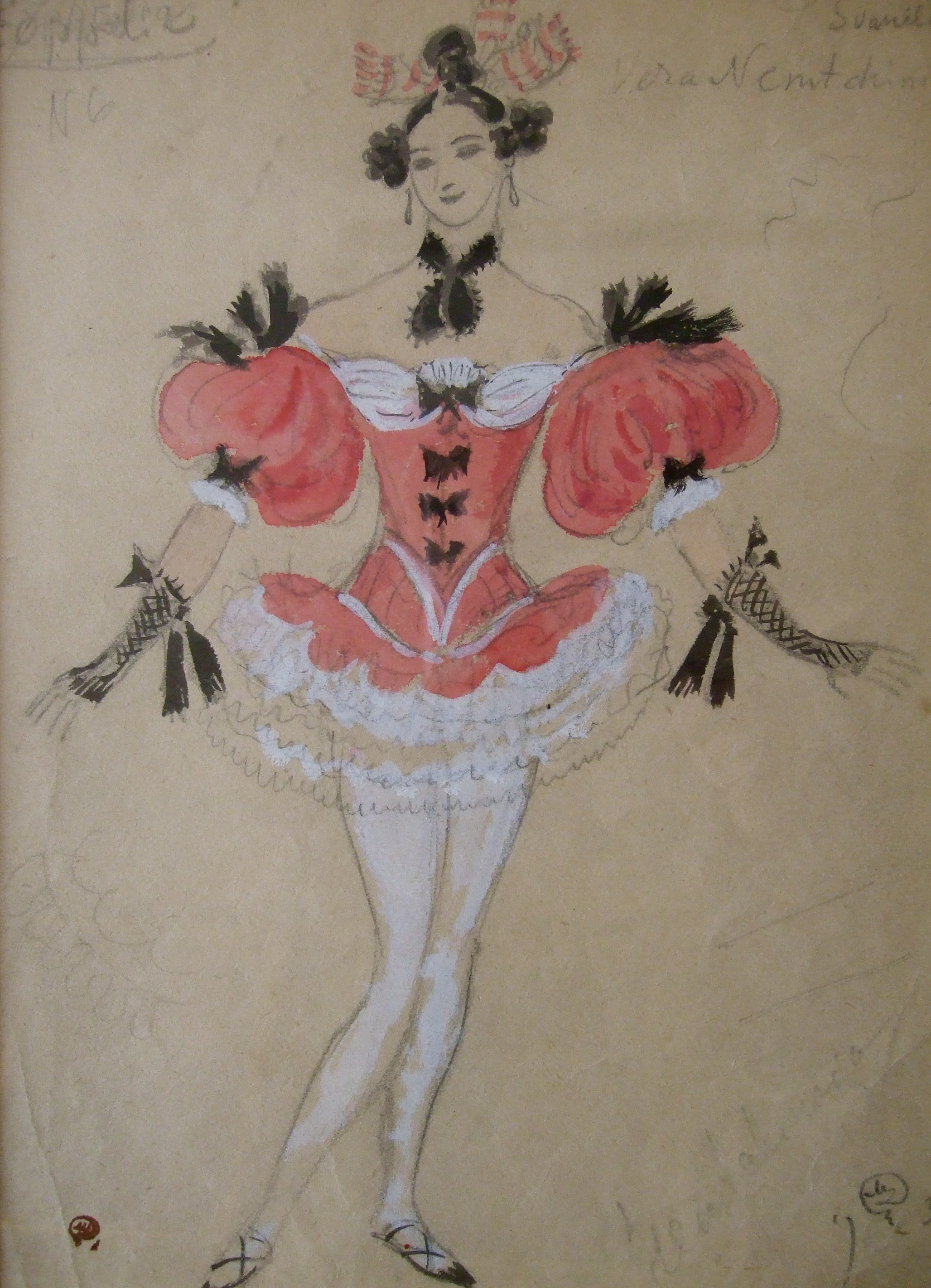 """Costume design for ballet """"Coppelia"""".  Costume design for ballet production Coppelia. Gouache on paper, signed and stamped with artist's studio stamp. Size: 31 x 22 cm."""