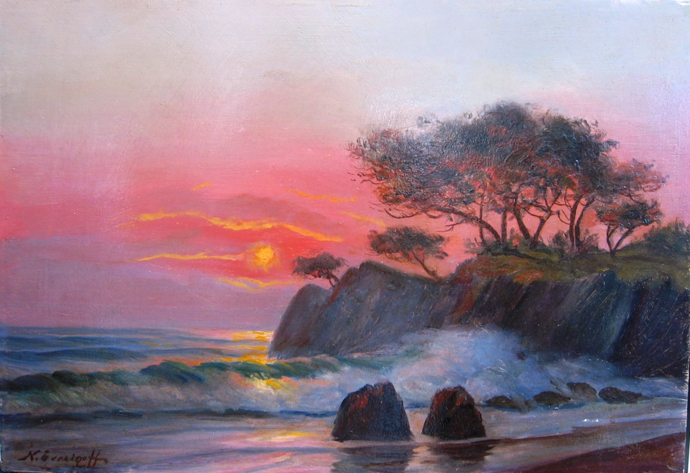 Sea landscape  Oil on board. Size: 52 x 38 cm. signed.