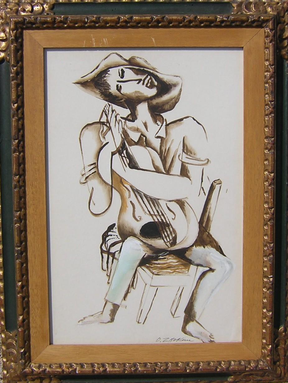 Le musicien.  Gouache on paper, Size: 42 x 64 cm., signed.