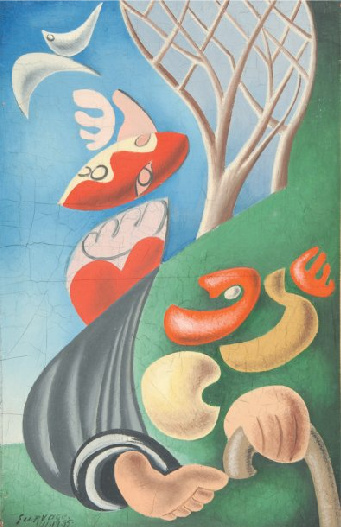 Personnage et oiseau. Oil on canvas. Signed and dated 11.11.35 lower left. Size: 41 x 27 cm.