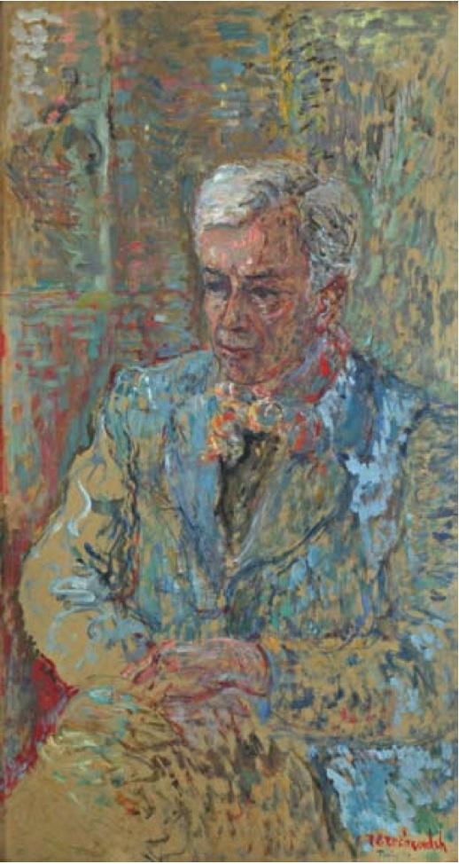 Portrait de Georges Braque.  Pastel on board, 83 x 45 cm , dated and signed Terechkovitc Paris 42.