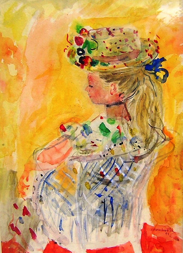 Girl in a hat.  Gouache on paper, size: 43 x 60 cm. Signed and dated 1954.