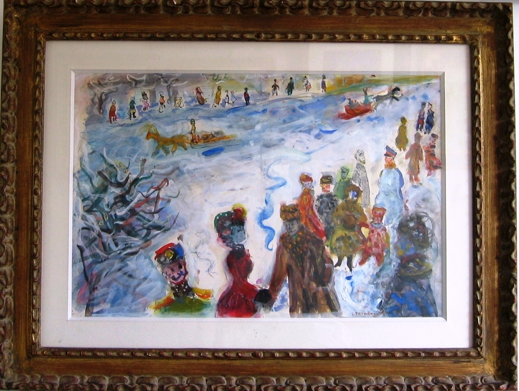 Winter in Moscow.  Gouache on paper. Size 55 x 36 cm., signed.