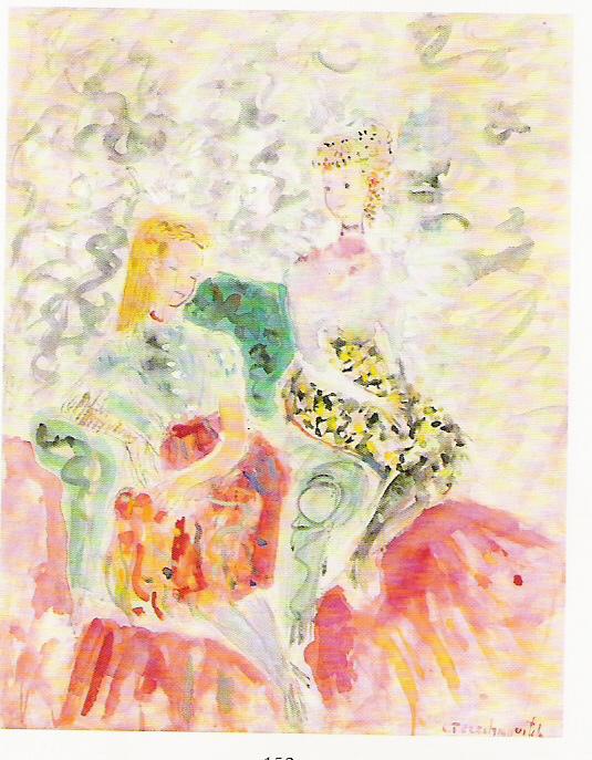 Two girls  Watercolour and gouache on paper. Size: 60.5 x 47 cm. Signed. Provenance: galerie Paul Petrides, Paris