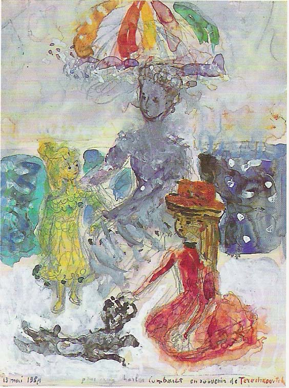 Girls with a dog.  Gouache on paper. Size 32 x 24 cm., signed and dated 1950.