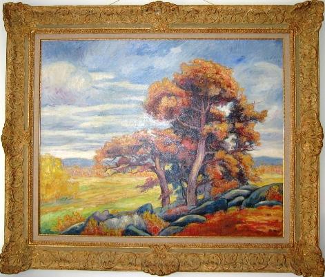 Landscape with trees. Пейзаж. Oil on canvas. Size 98 x 79 cm. Signed. Пейзаж. Холст, масло. Размер: 98 х 79