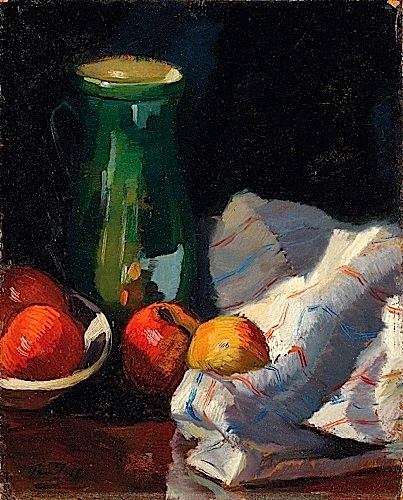 Still Life with fruit.    Oil on board. Signed and dated 925.Size: 43,50 x 34,50 cm.