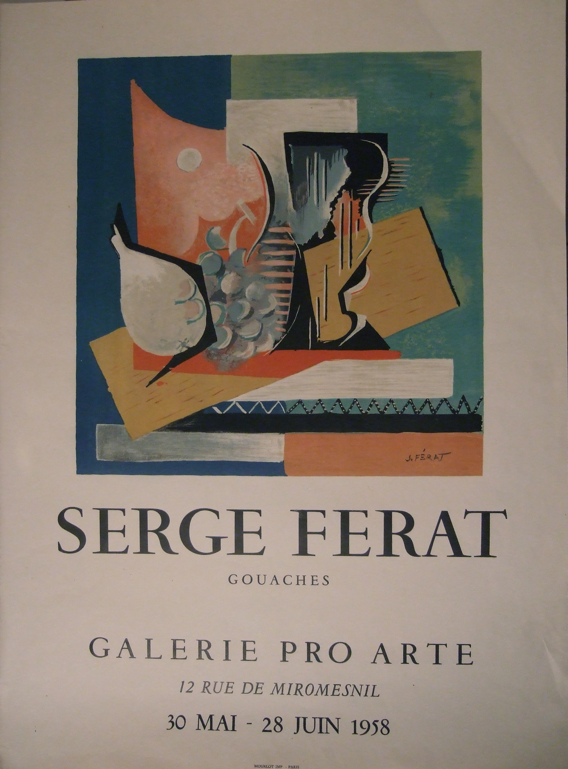 Serge Ferat Poster of Exhibition Paris 1958.