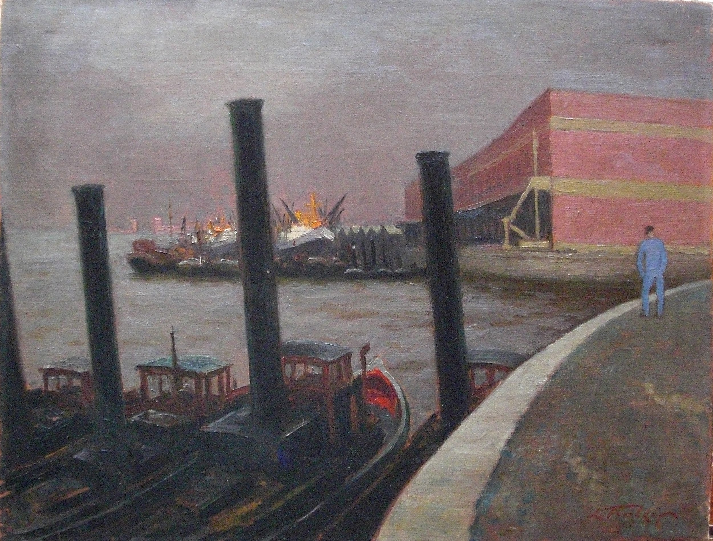 Tugs in the port. Oil on canvas. Signed. Size: 65 x 50 cm.