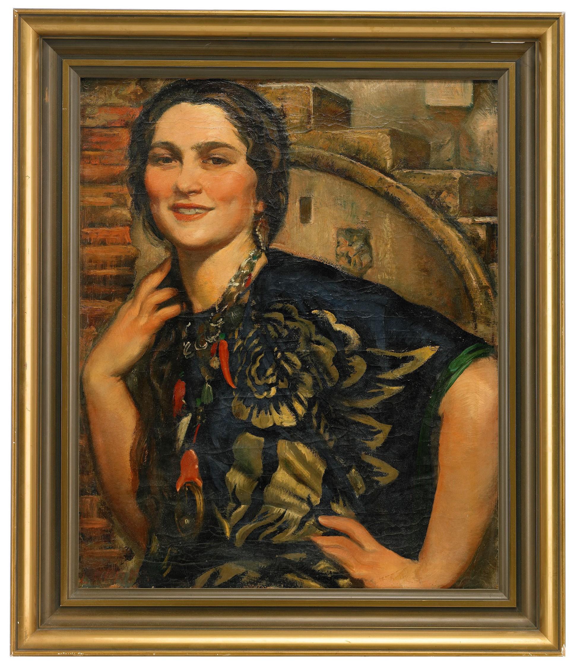 Gosiason Philipp   Portrait of Ukranian girl. Oil on canvas, signed. Size: 70 x 60 cm.