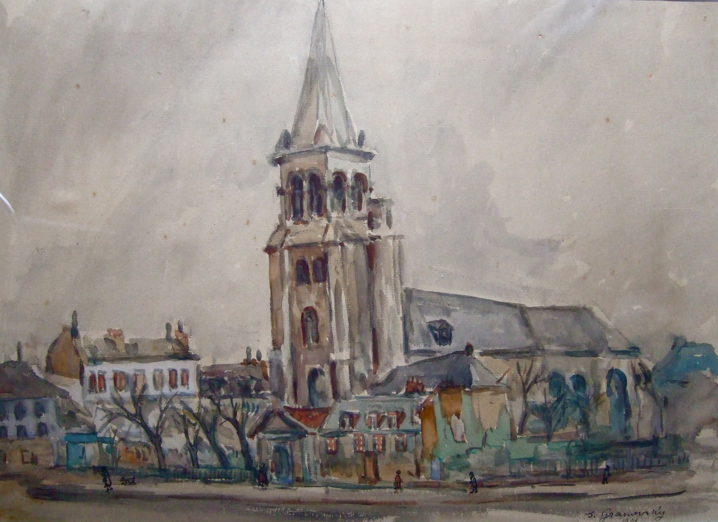 Provincial town.   Watercolor on paper. 49 x 35 cm. Signed and dated 1941.