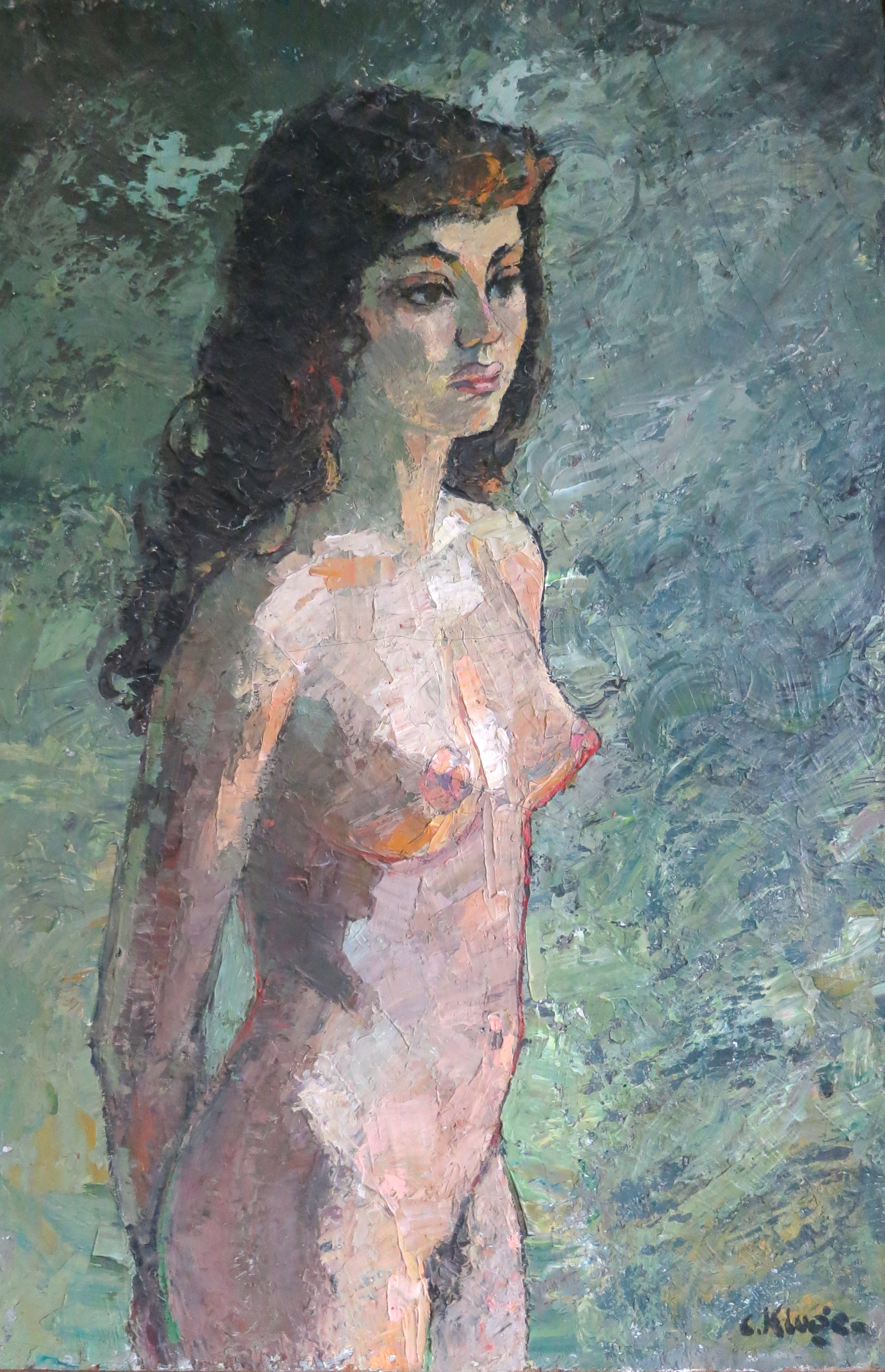 "Portrait de femme nue debout   Oil on canvas signed on the lower right and dated on the back 19.2.1977 with inscription: ""A mon chat Suzy, Constantin"". size: 80 x 54 cm."
