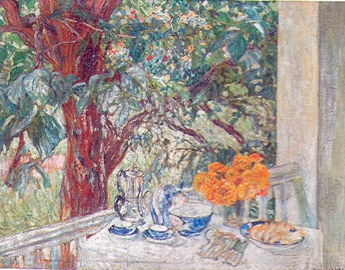 Breakfast on a terace.   Oil on canvas, signed. Size: 125,5 x 95 cm.