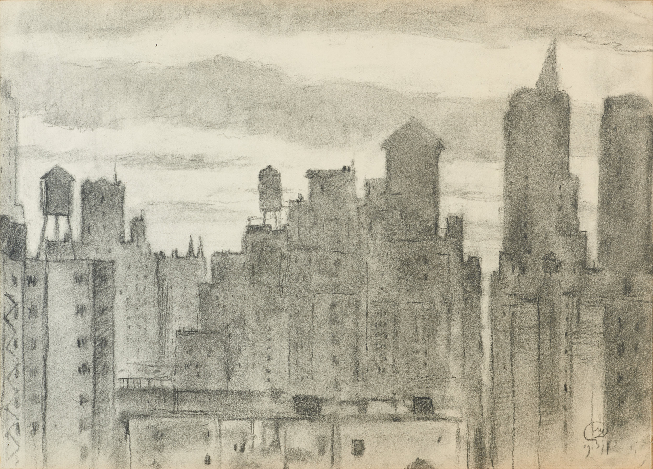 View of a Town, signed and dated 1943. Charcoal on paper, 36 x 50 cm.